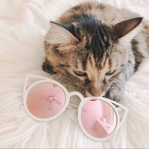 Cat-eye White Rimmed Sunglasses